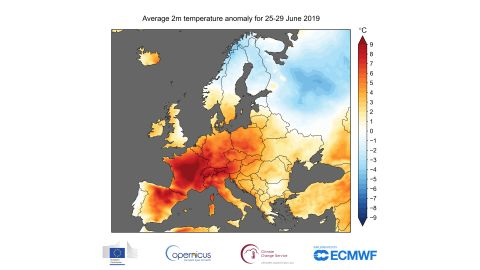 This map shows temperatures (°C) estimated during a 5-day period in 2019 ending June 29.