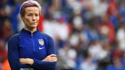 United States' forward Megan Rapinoe looks on during warm up prior to the Women's World Cup semi-final football match between England and USA, on July 2, 2019, at the Lyon Satdium in Decines-Charpieu, central-eastern France.