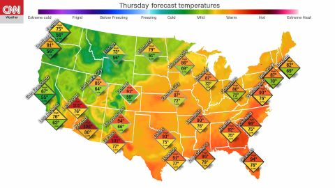 Forecast temperatures for July Fourth