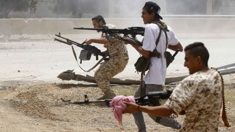 Fighters loyal to the internationally-recognised Libyan government clashes with forces loyal to strongman Khalifa Haftar south of Tripoli in June 2019.