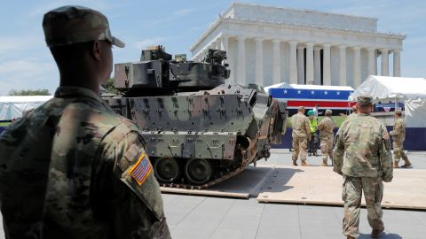 A Bradley Fighting Vehicle is moved into place at the Lincoln Memorial ahead of a July Fourth celebration highlighting U.S. military might in Washington, U.S., July 3, 2019. REUTERS/Jim Bourg