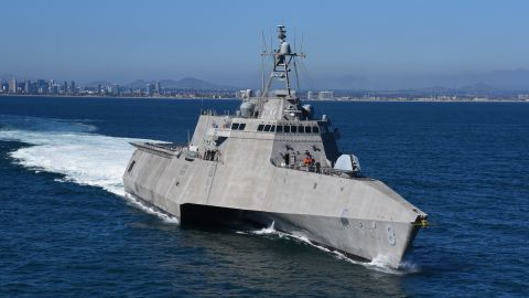 The littoral combat ship USS Montgomery departs Naval Base San Diego in 2018.