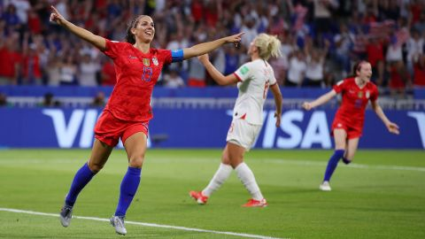Morgan celebrates her tournament-leading sixth goal in the 2-1 semifinal win against England on Tuesday, July 2. Rapinoe and England's Ellen White later tied her.