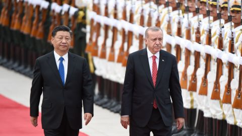Turkish President Recep Tayyip Erdogan and Chinese President Xi Jinping inspect Chinese honour guards during a welcome ceremony outside the Great Hall of the People in Beijing on July 2.