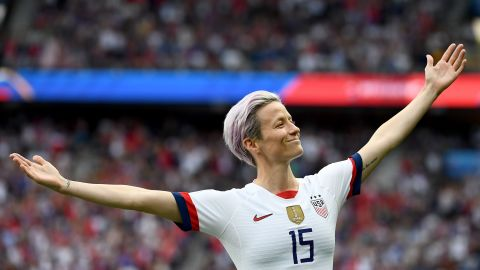"""Rapinoe celebrates one of her two goals in the 2-1 victory over France in the quarterfinals. After being embroiled in a <a href=""""https://www.cnn.com/2019/07/03/football/megan-rapinoe-message-uswnt-spt-intl/index.html"""" target=""""_blank"""">war of words with US President Donald Trump,</a> Rapinoe became the focus of unprecedented scrutiny during this World Cup."""