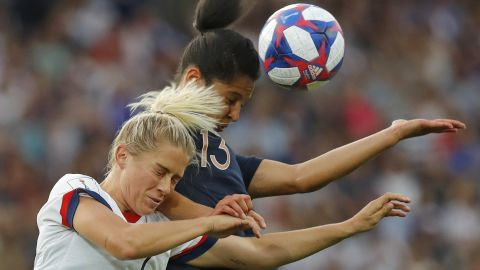American Abby Dahlkemper, left, and France's Valerie Gauvin battle for the ball during the Women's World Cup quarterfinal in Pais on June 28.
