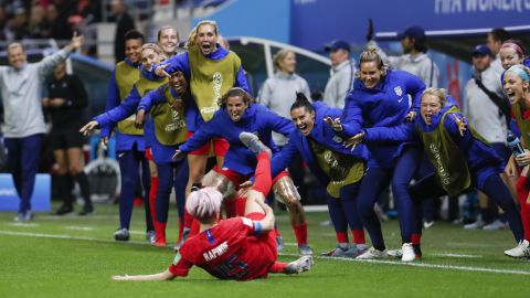 """Rapinoe celebrates her goal during the team's 13-0 rout over Thailand. It was the largest win in World Cup history for any team, men or women. But<a href=""""https://www.cnn.com/2019/06/12/us/uswnt-world-cup-sportsmanship-trnd/index.html"""" target=""""_blank""""> the team was criticized</a> for the way it celebrated many of its late goals."""