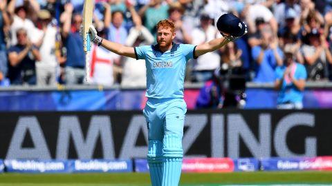 Jonny Bairstow of England celebrates his century against New Zealand.