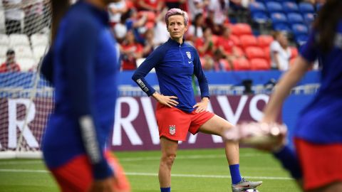 """<a href=""""https://www.cnn.com/2019/07/02/sport/megan-rapinoe-not-starting-trnd/index.html"""" target=""""_blank"""">Many fans were perplexed</a> when Rapinoe was left out of the starting lineup of the England match. She didn't participate in warmups, either. It was announced after the match that she was nursing a slight hamstring strain. She was back in the lineup for the final."""