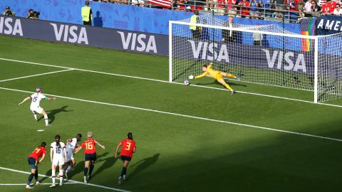 """Rapinoe slots home a goal from the penalty spot during <a href=""""https://www.cnn.com/2019/06/24/football/usa-spain-womens-world-cup-last-16-spt-intl/index.html"""" target=""""_blank"""">the Americans' 2-1 victory over Spain</a> in the round of 16. Rapinoe again had both goals. Both were off penalties."""
