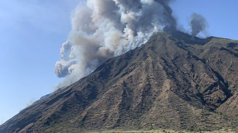 """This handout photo obtained from the twitter account of @mariocalabresi shows the eruption of the Stromboli volcano on July 3, 2019 on the Stromboli island, north of Sicily. - A volcano on the Italian island of Stromboli erupted dramatically on July 3, reportedly killing a hiker and sending tourists fleeing, but firefighters could not immediately confirm any casualties. (Photo by Mario CALABRESI / Twitter account of @mariocalabresi / AFP) / Italy OUT / RESTRICTED TO EDITORIAL USE - MANDATORY CREDIT """"AFP PHOTO / @mariocalabresi / Mario CALABRESI"""" - NO MARKETING - NO ADVERTISING CAMPAIGNS - DISTRIBUTED AS A SERVICE TO CLIENTS        (Photo credit should read MARIO CALABRESI/AFP/Getty Images)"""