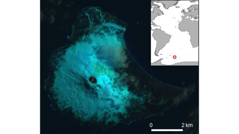 Scientists adjusted this satellite image of Mount Michael to make the lava lake more visible.