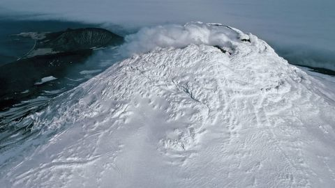 This aerial photograph shows the summit of Mount Michael.