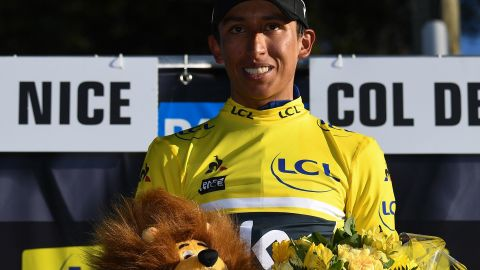 Maybe an omen? Colombia's Egan Bernal celebrates his overall leader yellow jersey after winning the Paris-Nice race earlier this year. He is among the favorites for this year's Tour de France.