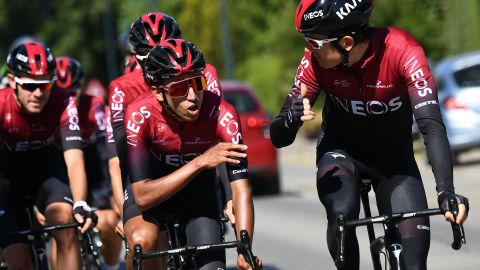 Team Ineos joint team leaders, Colombia's Egan Bernal and Britain's Geraint Thomas  share a moment on a training ride before the start of the 106th Tour de France.