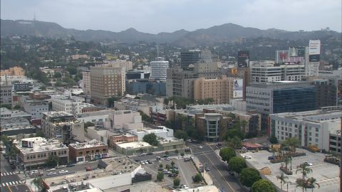 An image taken from CNN affiliate KTLA's tower camera in Hollywood after an earthquake was reported in the area.