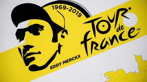A designed portrait of Eddy Merckx features on Tour de France posters, with the 2019 start in his native Belgium in honor of his achievements with this year the 50th anniversary of his first Tour win in 1969.