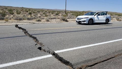A crack in the road is seen near Ridgecrest , California, on Thursday, July 4, after an earthquake in the area.