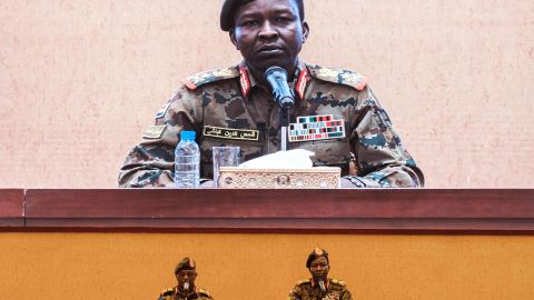 Sudan's Transitional Military Council spokesman Shams-Eddin Kabashi, right, speaks during a press conference at the Presidential Palace in Khartoum on June 13. Sudan's ruling military council admitted that it had ordered the dispersal of a Khartoum sit-in, which left more than 100 dead.