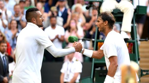 Nick Kyrgios (left) and Rafael Nadal shake hands after their heated clash at Wimbledon.