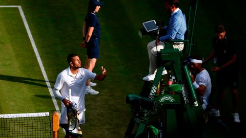 Nick Kyrgios had words with umpire Damien Dumusois in his match against Rafael Nadal.