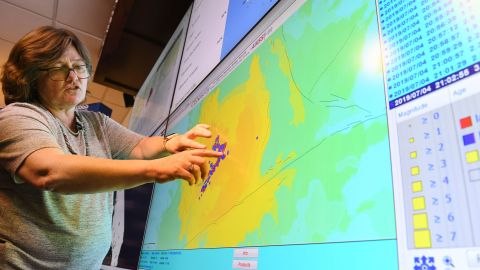 Seismologist Lucy Jones speaks at a media briefing at the Caltech Seismological Laboratory following the 6.4 Searles earthquake near Ridgecrest, about 150 miles north of Los Angeles, on July 4, 2019.