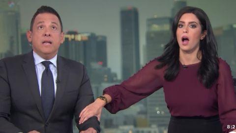 Earthquake news anchors