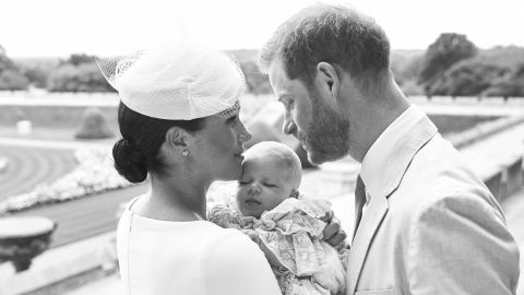 Royal Baby Christening. NEWS EDITORIAL USE ONLY. NO COMMERICAL USE. NO MERCHANDISING, ADVERTISING, SOUVENIRS, MEMORABILIA or COLOURABLY SIMILAR. NOT FOR USE AFTER AFTER 31 DECEMBER, 2019 WITHOUT PRIOR PERMISSION FROM ROYAL COMMUNICATIONS. NO CROPPING. Copyright in this photograph is vested in The Duke and Duchess of Sussex. Publications are asked to credit the photographs to Chris Allerton. No charge should be made for the supply, release or publication of the photograph. The photograph must not be digitally enhanced, manipulated or modified in any manner or form and must include all of the individuals in the photograph when published. This official christening photograph released by the Duke and Duchess of Sussex shows the Duke and Duchess with their son, Archie Harrison Mountbatten-Windsor at Windsor Castle with with the Rose Garden in the background. Picture date: Saturday July 6, 2019. See PA story ROYAL Christening. Photo credit should read: Chris Allerton/'SussexRoyal URN:43955456 (Press Association via AP Images)