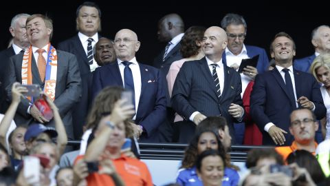 Dutch King Willem-Alexander, far left, and French President Emmanuel Macron, far right, are attending the match.
