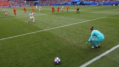 Rapinoe slots home her penalty past Sari van Veenendaal.