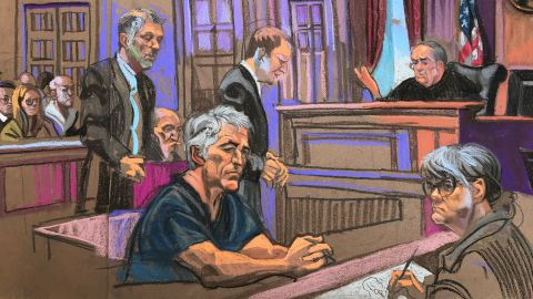 Sketch from the Jeffrey Epstein court appearance in New York, NY on Monday, July 8th, 2019.