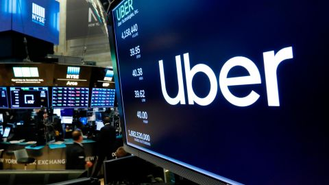 The logo for Uber appears above a trading post on the floor of the New York Stock Exchange, Thursday, May 30, 2019.