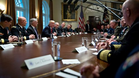 """WASHINGTON, DC - OCTOBER 5:  U.S. President Donald Trump speaks at a briefing with senior military leaders in the Cabinet Room of the White House October 5, 2017 in Washington, D.C. Mattis said this week that the U.S. and allies are """"holding the line"""" against the Taliban in Afghanistan as forecasts of a significant offensive by the militants remain unfulfilled.  (Photo by Andrew Harrer-Pool/Getty Images)"""