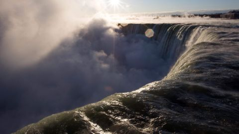 A view of the Canadian Horseshoe Falls as steam rises  in Niagara Falls, Ontario, Canada on January 31, 2019. - A brutal cold wave moved eastward on January 31, 2019, after bringing temperatures in the US Midwest lower than those in Antarctica, grounding flights, closing schools and businesses and raising fears of hypothermia. (Photo by Lars Hagberg / AFP)LARS HAGBERG/AFP/Getty Images