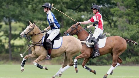 Prince William and Prince Harry compete in polo.