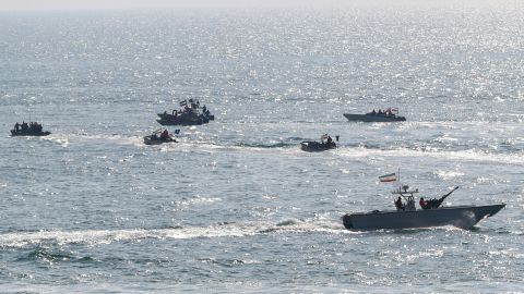 Military units of the IRGC Ground Force are seen on boats as they launched war games in the Gulf, December 22, 2018.