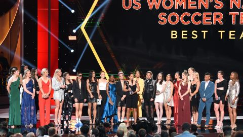 The United States Women's National Soccer Team accepts the Best Team award onstage during The 2019 ESPYs at Microsoft Theater on July 10.
