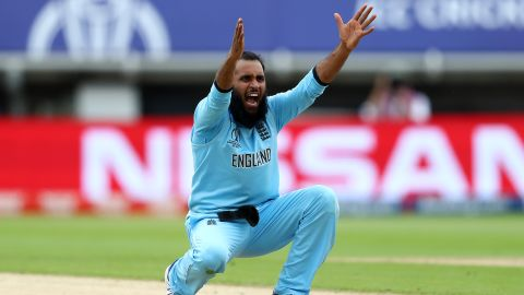 England's Adil Rashid appeals successfully for the wicket of Marcus Stoinis.