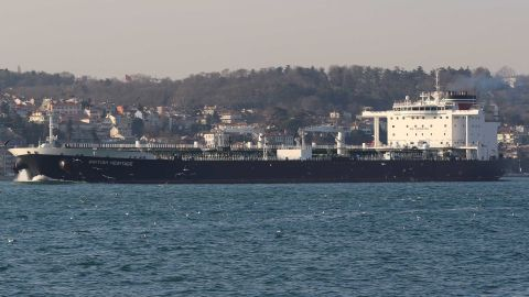 Oil tanker British Heritage sails in the Bosphorus, on its way to the Black Sea, in Istanbul, Turkey, March 1, 2019. Picture taken March 1, 2019. REUTERS/Cengiz Tokgoz NO RESALES. NO ARCHIVES