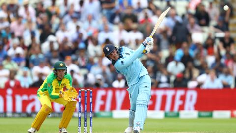 Jason Roy hits a six off the bowling of Steve Smith during England's reply.