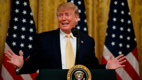 """President Donald Trump speaks during the """"Presidential Social Media Summit"""" in the East Room of the White House, Thursday, July 11, 2019, in Washington. (AP Photo/Evan Vucci)"""