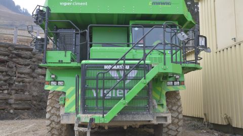 The drivers of the monster dump truck will get their own workouts to reach the cockpit of the vehicle -- they must climb up nine stairs.
