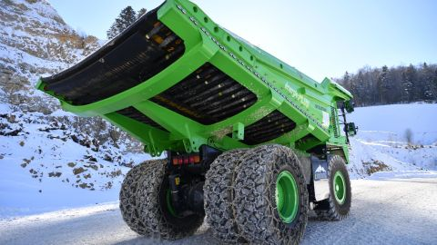 The truck is 110 tons heavy when fully loaded and powered by a 4.5-ton all-electric battery.