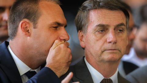 Jair Bolsonaro, right, with his son Eduardo Bolsonaro, left, on November 14 in Brasilia.