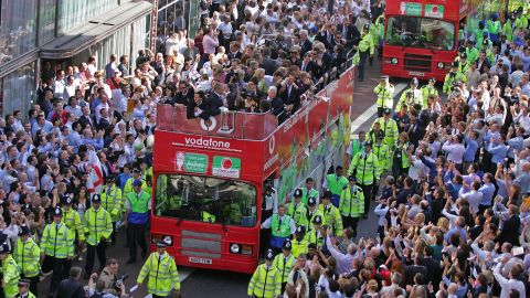 England's cricket team rides in an open top double decker bus after winning the 2005 Ashes.