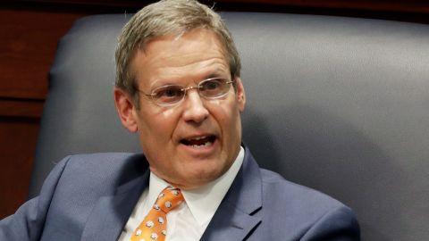 FILE - In this April 17, 2019, file photo, Tennessee Gov. Bill Lee takes part in a discussion on state-level criminal justice reform in Nashville, Tenn. Lee plans to let legislation to allow sports betting become law without his signature, putting a state that has largely shied from expanding gambling in position to become the first to offer an online-only sportsbook.  (AP Photo/Mark Humphrey, File)