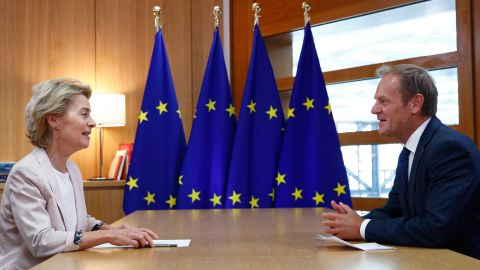 """Outgoing EU Council President Donald Tusk (right) called the likely appointments of von der Leyen and Christine Lagarde as ECB chief """"a perfect gender balance."""""""