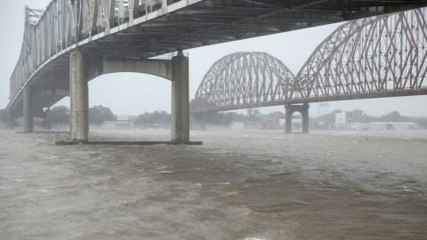 High winds blow across the Atchafalaya river in Morgan City, Louisiana ahead of Tropical Storm Barry on July 13.