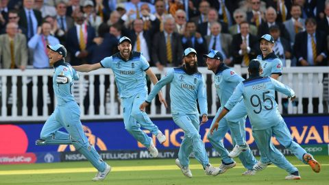 England's players celebrate after winning the Super Over at the World Cup final.