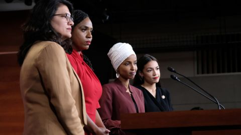 """WASHINGTON, DC - JULY 15: U.S. Rep. Rashida Tlaib (D-MI), Rep. Ayanna Pressley (D-MA), Rep. Ilhan Omar (D-MN), and Rep. Alexandria Ocasio-Cortez (D-NY) pause between answering questions during a press conference at the U.S. Capitol on July 15, 2019 in Washington, DC. President Donald Trump stepped up his attacks on four progressive Democratic congresswomen, saying if they're not happy in the United States """"they can leave."""" (Photo by Alex Wroblewski/Getty Images)"""